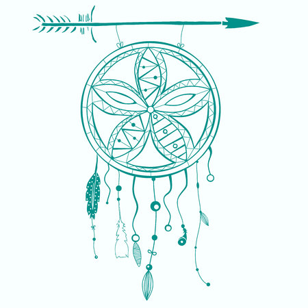 Hand drawn dreamcatcher with feathers and arrow. Vector hipster illustration isolated on white. Ethnic design, boho style, tribal symbol, white dreamhunter