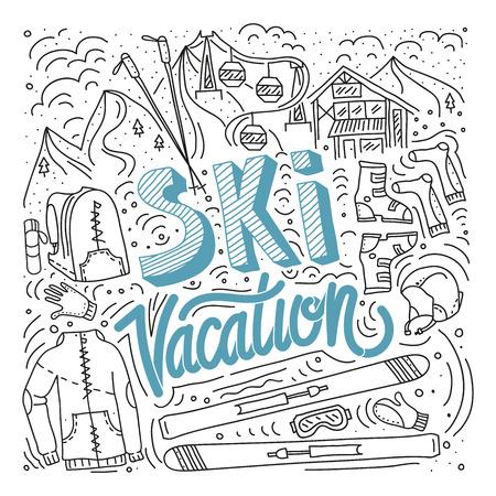Vector mountain ski and sticks detailed on white background. Mountain skis and sticks sport equipment. Illustration
