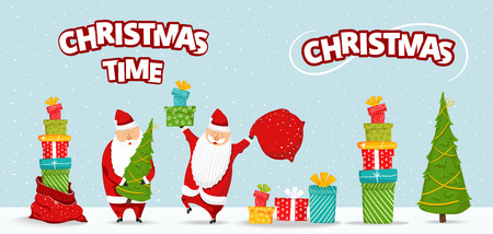 Cartoon Santa Claus set. Funny happy Santa character with christmas tree, pile of gifts, bag with presents, glad, waving and greeting. For new year invitation, cards, banners, tags and labels. Illustration