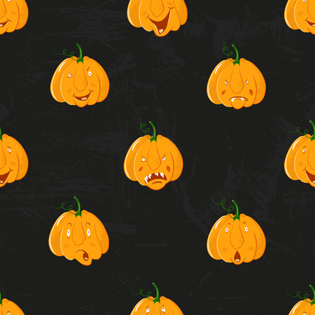 Cartoon pumpkins seamless pattern. Pumpkin from different sides background, For fall wallpaper, fabric, greeting cards, invitation on black grunge background. Illustration