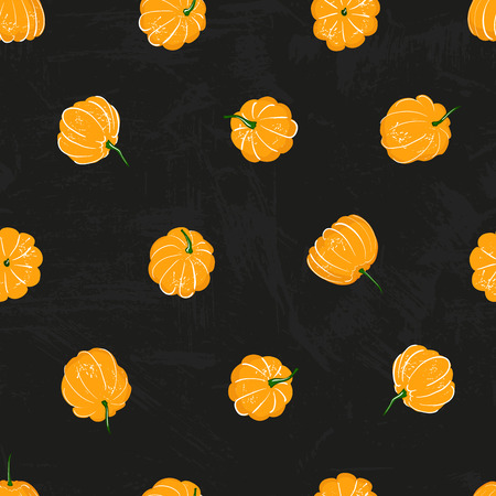 Cartoon pumpkins seamless pattern. Pumpkin from different sides background, For fall wallpaper, fabric, greeting cards, invitation on black background.