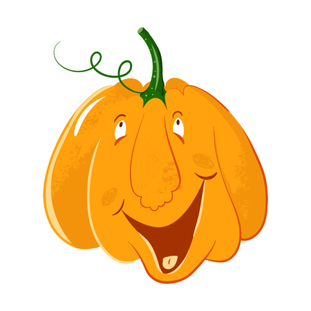 vector pumpkin head portrait with happy emotions for celebration of halloween. pumpkin laughs, smiles, laughs. live pumpkin character 向量圖像