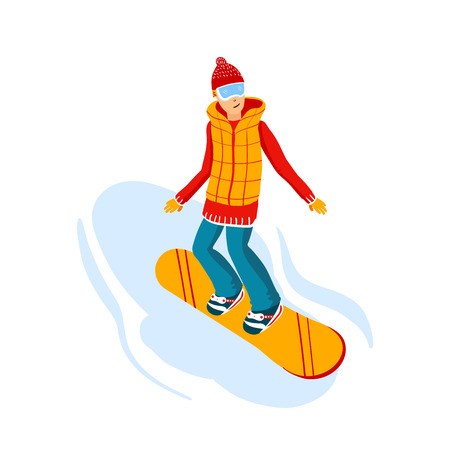 cartoon snowboard riders, men. Winter mountain sports activity, ski resort vacation. Vector illustration in simple flat style