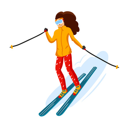 Vector skiers cartoon flat style. Woman in the ski resort. Winter sport activity. Simple characters. Isolated on white background Stock Photo