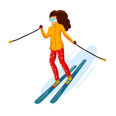 Vektor-Skifahrer Cartoon flachen Stil. Frau im Skigebiet. Wintersport-Aktivität. Einfache Charaktere. Isoliert auf weißem Hintergrund Standard-Bild