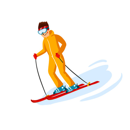 Vector skier cartoon flat style. Man in the ski resort. Winter sport activity. Simple characters. Isolated on white background 写真素材