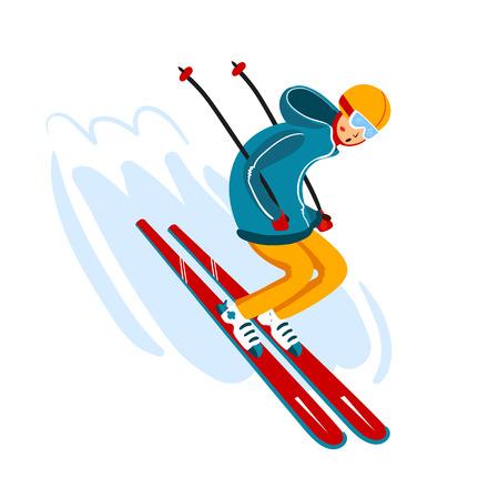 Vektor-Skifahrer-Cartoon-flache Art. Mann im Skigebiet. Wintersport-Aktivität. Einfache Charaktere. Isoliert auf weißem Hintergrund Standard-Bild