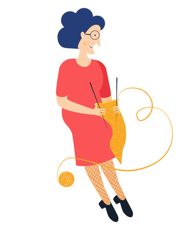 Grandmother wearing glasses. Grandma. Vector illustration. Old woman knits a scarf. Modern flat style simple