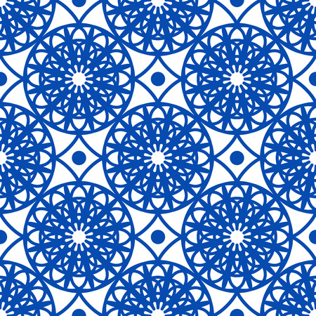 Vector oriental pattern in blue color. Turkish, Spanish, Moorish, Moroccan pattern. Ilustração
