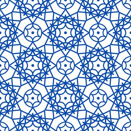 Vector oriental pattern in blue color. Turkish, Spanish, Moorish, Moroccan pattern.