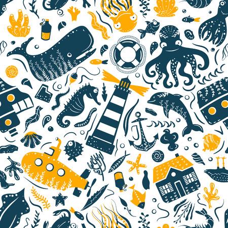 Impression de modèle sans couture de style simple mer océan. Deux couleurs. Imprimez des t-shirts pour enfants et des souvenirs de style marin. Isolé sur fond blanc collection