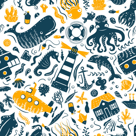 Sea ocean simple styling seamless pattern print. Two color. Print for kids t-shirt and sea style souvenirs. Isolated on white background collection