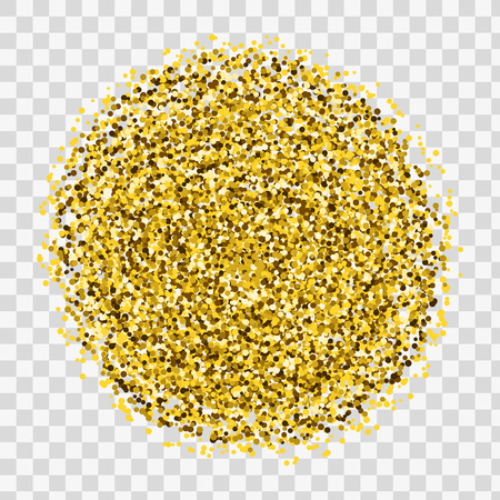 Gold sparkles and glitter powder spray. Sparkling glitter particles explosion on vector black transparent background. Golden star light shining or luxury fireworks and confetti outburst Stock Photo