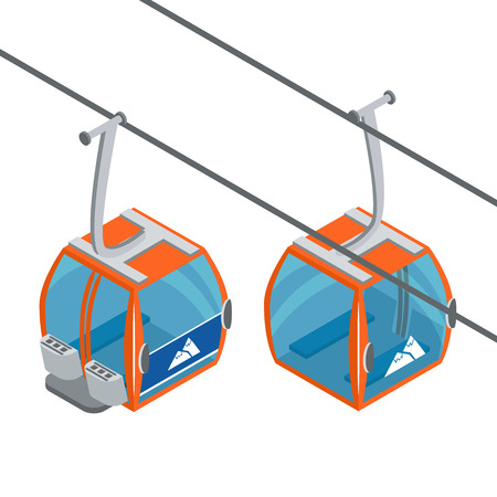 Ski Lift Gondolas moving. Isolated on white background. Illustration of winter transport for the advertising flyer, post card or banner. Иллюстрация