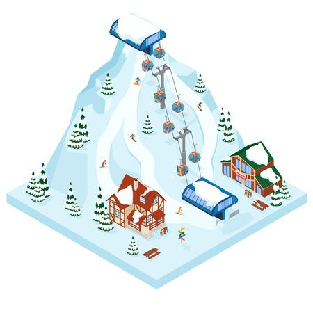 Ski-Resort-Ferien-Gondelbahn. Wintersport im Freienurlaub in den Alpen, Landschaft mit Bergblick und Wald. Chalet im Alpendorf. Flache isometrische 3D-Vektor-Illustration.