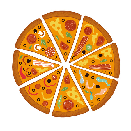 Round big mix pizza, slices triangle, italian restaurant menu, snack food ingredients for pizza