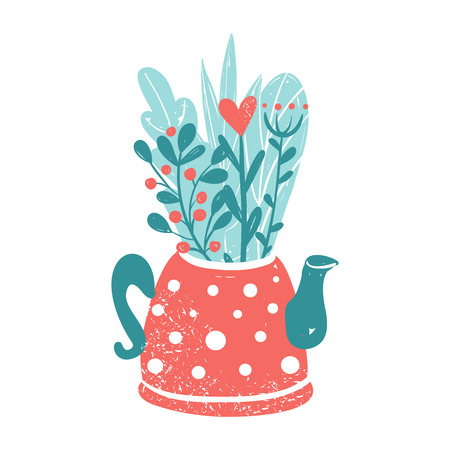 Clipart for Valentines day and wedding. Cute teapot with bouquet of flowers. Spring flowers in the pot isolated on white background. Illustration