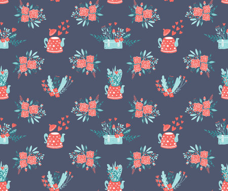 Clipart for Valentines day and wedding. Cute teapot with bouquet of flowers. Spring flowers in the pot seamless pattern vector. Illustration