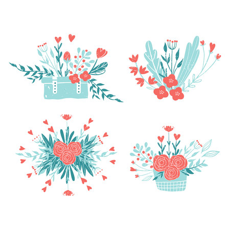 Bouquets of flowers in pastel colors: pink and blue. Set of colors for the romantic design in rustic style. Flowers and hearts in a suitcase and a basket.