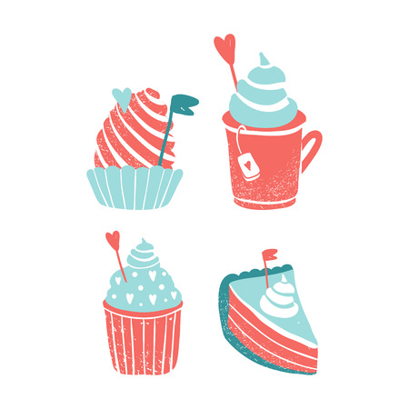 Clipart for Valentines day and wedding. Cute sweets. Love theme.