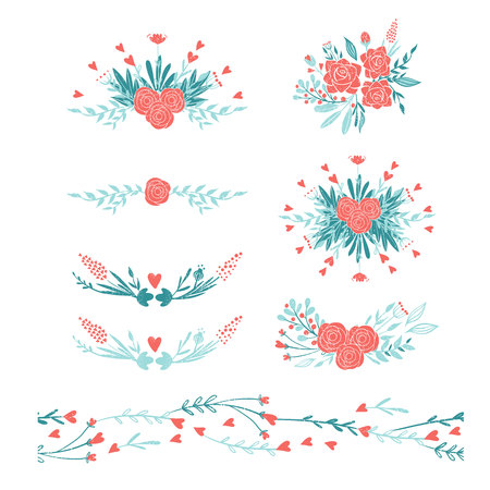 Bouquets of flowers in pastel colors: pink and blue. Set of colors for the romantic design in rustic style. Flowers and hearts set for wedding, valentine's day or bridal. Ilustrace