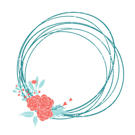 Wreath of flowers in pastel colors: pink and blue. Set of colors for the romantic design in rustic style. Flowers and hearts rame for love card.