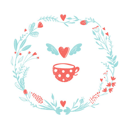 Wreath of flowers in pastel colors: pink and blue. Set of colors for the romantic design in rustic style. Flowers and hearts rame for love card. Flying heart and cup of tea. Illustration