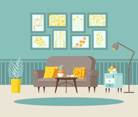 Cozy living room with sofa, bedside table with books, posters on the wall and striped wallpaper, lamp, window, balcony door. Blue, grey and yellow. Vector illustration.