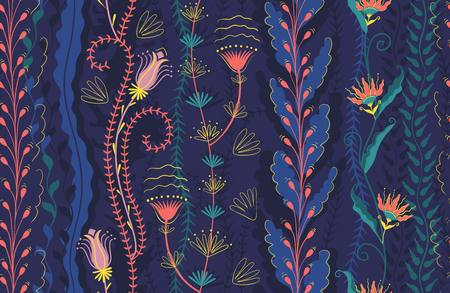 Seamless pattern, colored seaweed and flowers. Deep water algae coral pink, blue, purple and yellow colors. Vector graphic background with marine theme, coral reef. Flat style illustration.