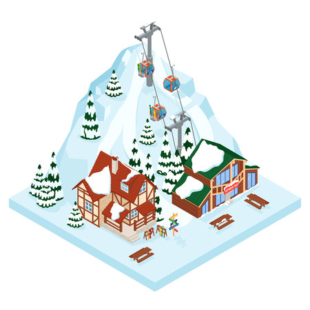 Ski resort vacation gondola way. Winter outdoor holiday activity sport in alps, landscape with mountain view and forest. Alpine village chalet. Flat style 3d isometric vector illustration.