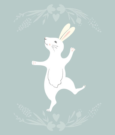 Easter Bunny character. Happy running and dancing bunnies. Flower frame silhouette.