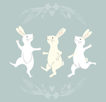 Collection of Easter Bunny characters from different poses. Happy running and dancing bunnies. Flower frame silhouette.