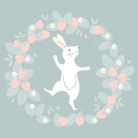 Easter Bunny character. Happy running and dancing bunny. Flower strawberry frame silhouette.