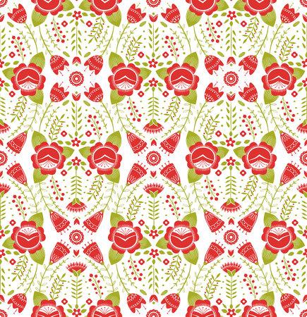 Gestileerd patroon, volkskunst, bloemenornament in rode en groene kleuren. Symmetrische naadloze patroon vector achtergrond.