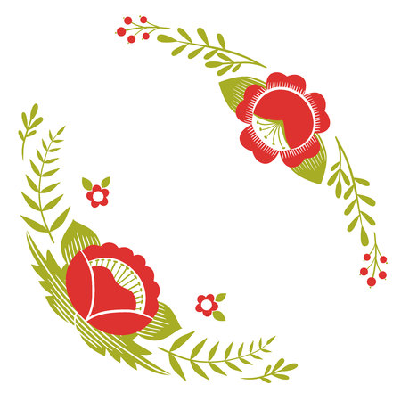 Stylized pattern, folk art, floral ornament in red and green colors. Symmetrical pattern vector background.