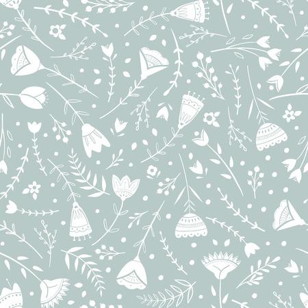 Motivo stilizzato, arte popolare, ornamento floreale nei colori grigio blu. Fondo di vettore del modello senza cuciture per carta da parati, tessile, disegno di carta da imballaggio.