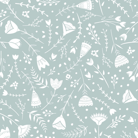 Stylized pattern, folk art, floral ornament in blue grey colors. Seamless pattern vector background for wallpaper, textile, wrapping paper design.