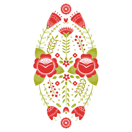 Stylized pattern, folk art, floral ornament in red and green colors. Symmetrical pattern vector background. Red and green colors Vector Illustratie