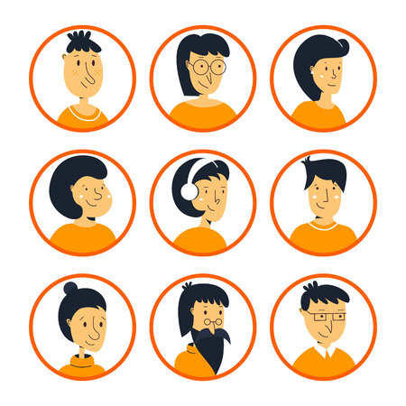 People characters icons. Set of avatars different age. Shoulders avatars stylish collection flat style.