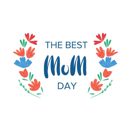 Happy mothers day. Greeting lettering phrase in frame for greeting card.