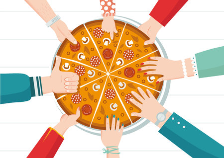 Round big mix pizza, slices triangle, italian restaurant menu, snack food ingredients for pizza. Pizza with all the flavors. Each piece has its own taste. Family party. Dinner with friends. Everyone takes a piece.