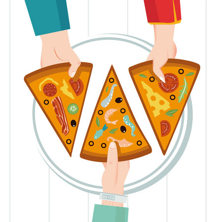 Round big pizza, slices triangle, italian restaurant menu, snack food ingredients for pizza. Family party. Dinner with friends. Everyone takes a piece. Each piece has its own taste