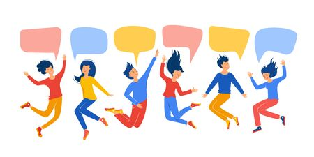 Set guys and girls jump with speech bubbles. The concept concept of a fun party, festival, good luck, good mood, friendship. Vector illustration isolated on white background