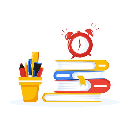 Banner with education supplies. Back to school concept. Stack of books, stand with pencils and wake up clock. Alarm clock is ringing. Vector illustration in flat style.