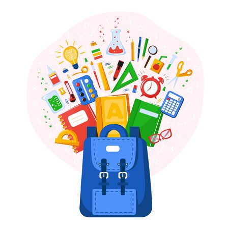 Collection of school supplies. Back to school. Stationery for school or College. School bag contents bang. Vector illustration in flat style Ilustração