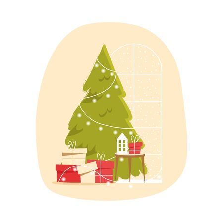 Christmas tree and gift boxes, decoration lamp amd garland. Christmas and new year illustration flat style