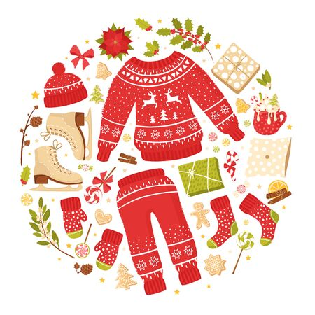 Attributes of new year and Christmas: pullover, mittens, socks and skates. Winter seasonal poster or greeting card. Collection of vector illustrations on the theme of winter holidays Ilustração