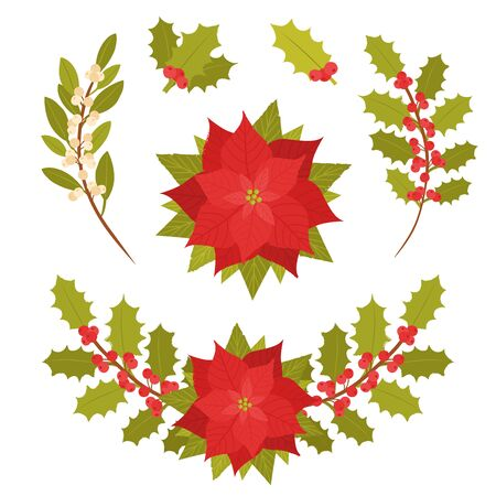 Poinsettia flower isolated on white background. Christmas star clipart element. Holly branches, Christmas wreath