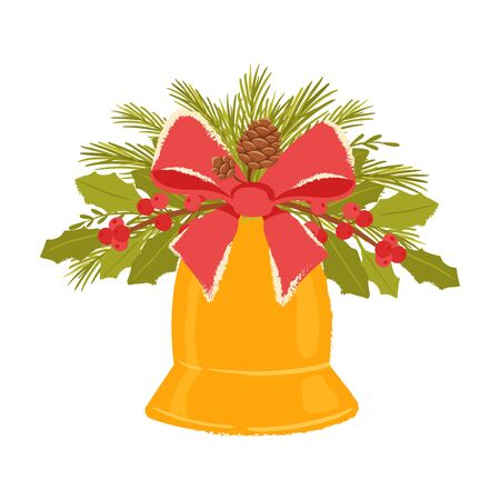 Christmas bell with a decor of holly branches, cones, spruce and red bow. New year home decoration for new year celebration