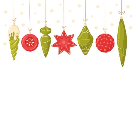 Christmas frame for holiday card. Collection of Christmas decorations, set of Christmas toys. For holiday cards, tags and greeting cards